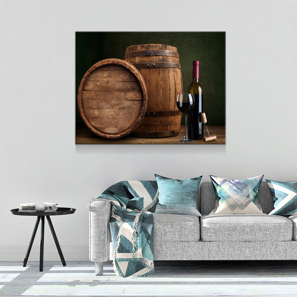 Wine & Barrels Canvas Wall Art, Wine Lovers Decor - Royal Crown Pro