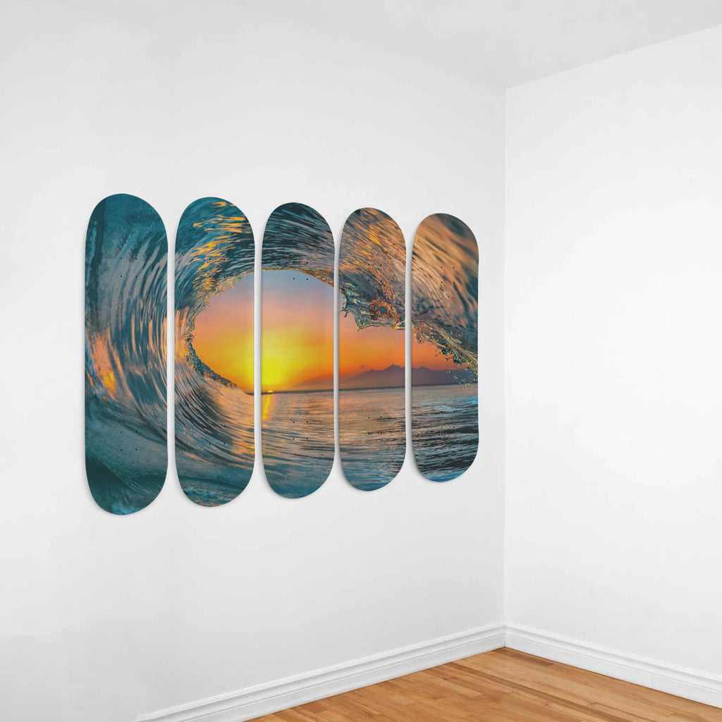 Wave Carve Skateboard Deck Wall Art 5-Piece Set - Royal Crown Pro