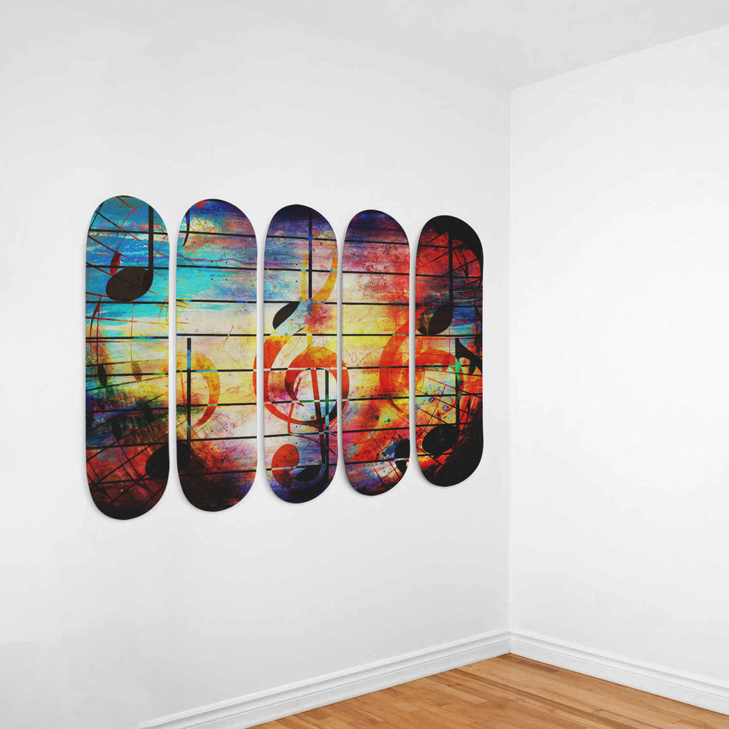Abstract Music Skateboard Deck Wall Art 5-Piece Set - Royal Crown Pro