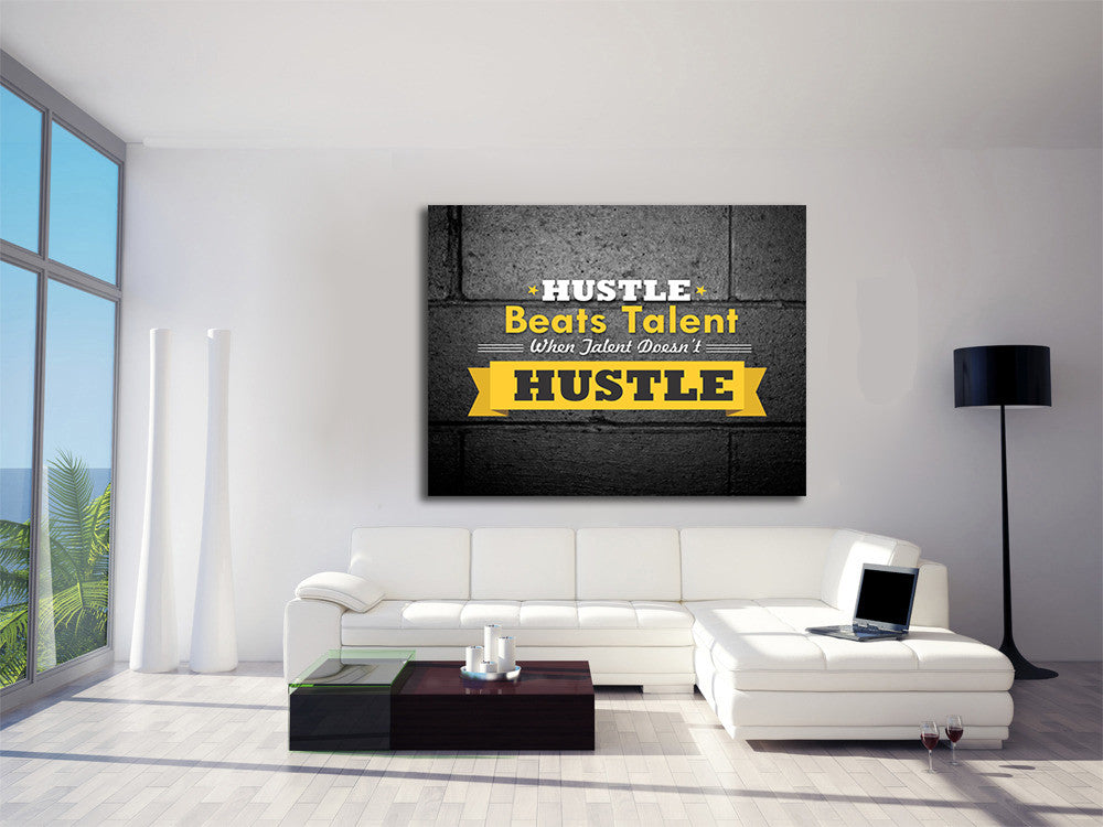 ... Hustle Beats Talent Framed Canvas Wall Art Office Art Motivational    Royal Crown Pro