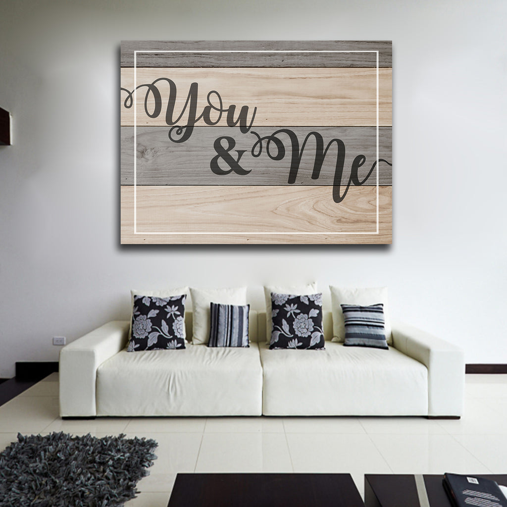You & Me Couples Canvas Wall Art Home Decor, Romantic Quote - Royal Crown Pro
