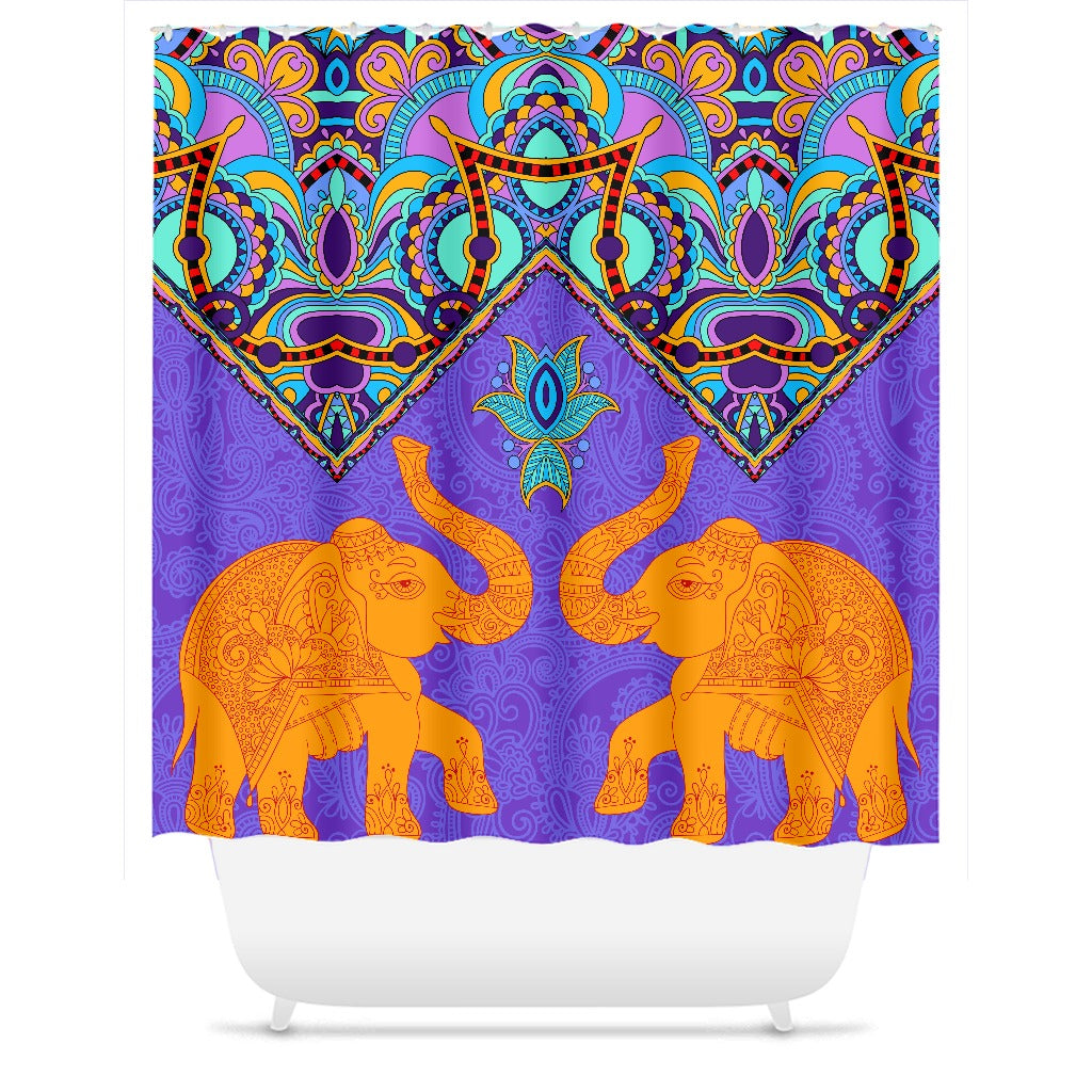 Indian Two Elephant Pattern Shower Curtain - Royal Crown Pro