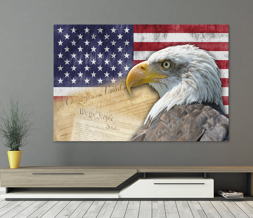 American Flag Bald Eagle Canvas Wall Art - Royal Crown Pro