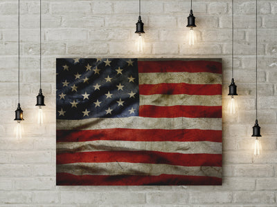 American Flag Canvas Wall Art Grunge Style American Flag - Royal Crown Pro