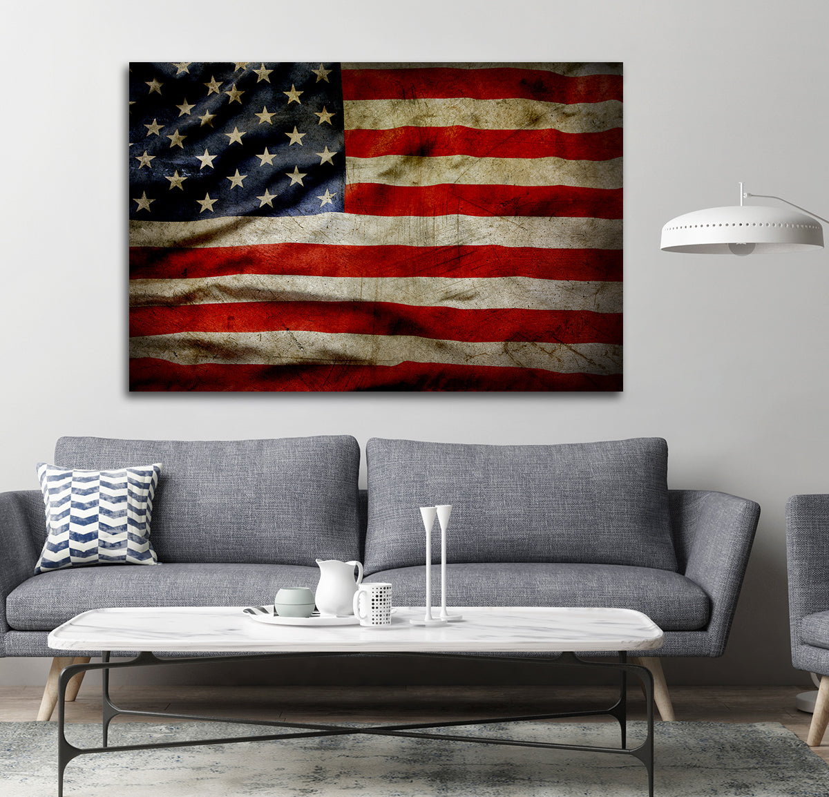 ... American Flag Canvas Wall Art Grunge Style American Flag   Royal Crown  Pro