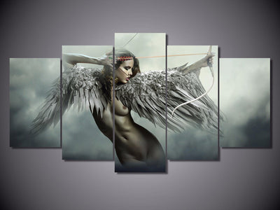Angel Warrior Exotic Fantasy 5-Piece Wall Art Canvas - Royal Crown Pro