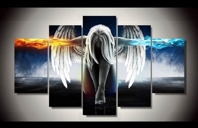 Angel Power Fire And Ice 5-Piece Wall Art Canvas Angel Art - Royal Crown Pro