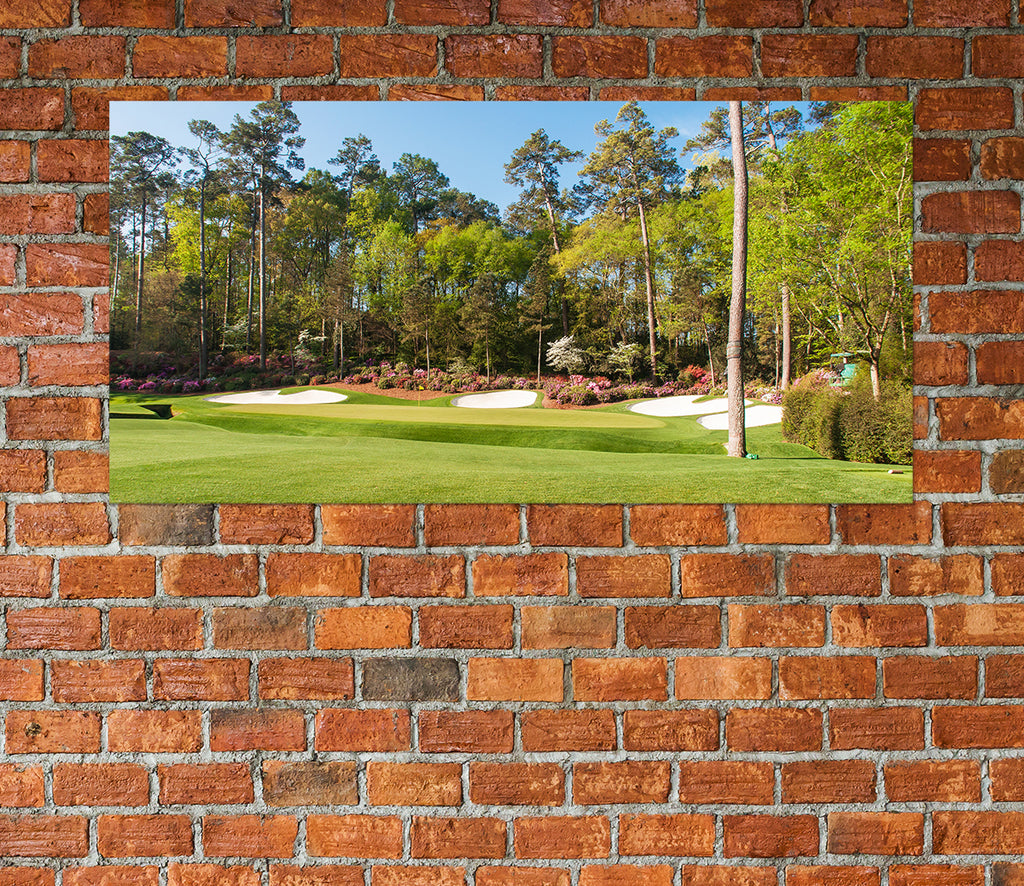 Augusta Golf Course Hole 13 Framed Canvas Wall Art - Royal Crown Pro