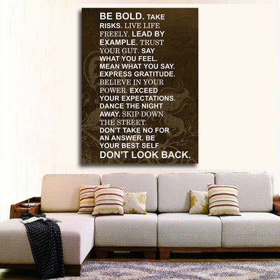 Be Bold Take Risks Live Life Freely Lead By Example Motivational Framed Canvas Wall Art - Royal Crown Pro