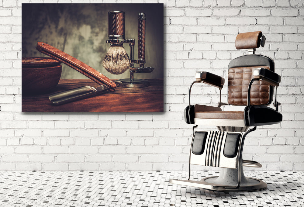 Barber Shop Vintage Canvas Framed Wall Art Decor