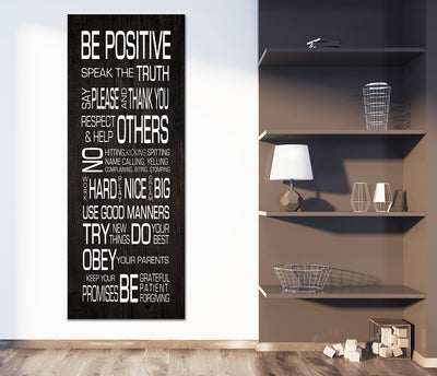 Family Rules Wall Art Be Positive Speak The Truth Framed Canvas Wall Art - Royal Crown Pro