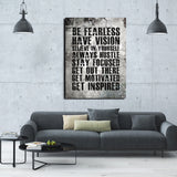 Be Fearless Have Vision Believe In Yourself Always Hustle Motivational Canvas Wall Art - Royal Crown Pro