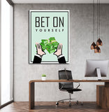 Bet On Yourself Monopoly Style Motivational Framed Canvas Wall Art - Royal Crown Pro