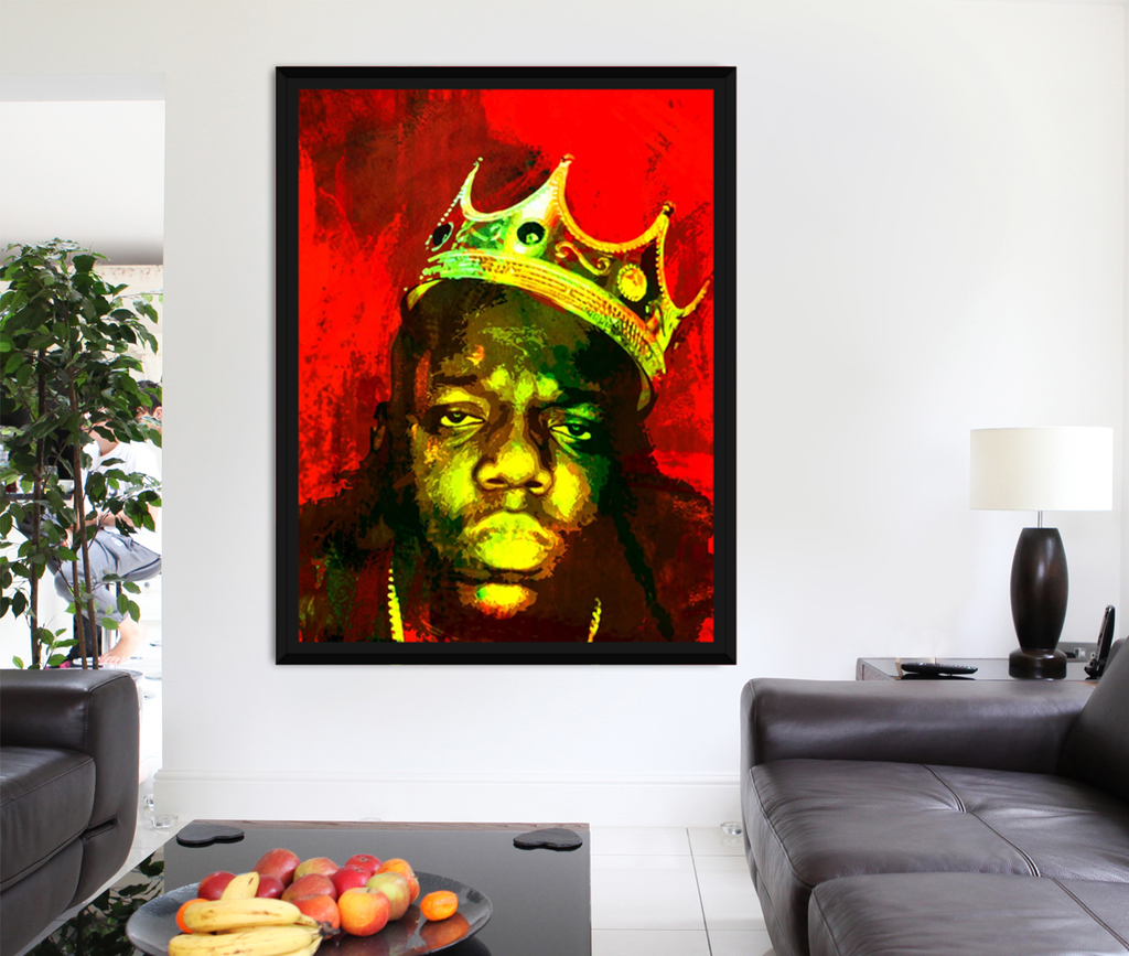 Biggie Smalls, Notorious BIG, Luke Cage, Canvas Wall Art With Black Floating Frame - Royal Crown Pro