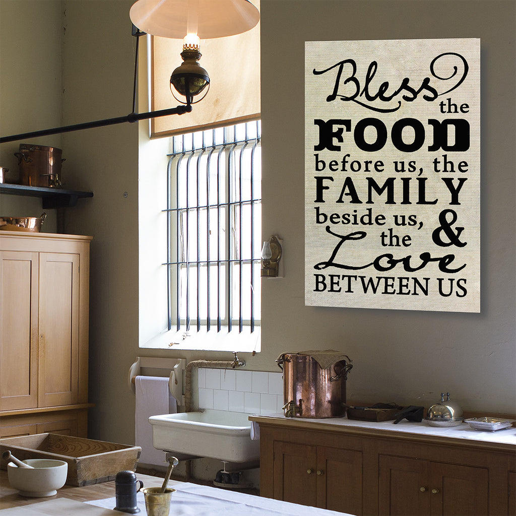 Bless The Food Before Us The Family Beside Us And The Love Between Us Canvas Wall Art - Royal Crown Pro