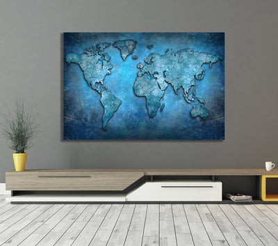 Blue Abstract World Map Framed Canvas Wall Art - Royal Crown Pro