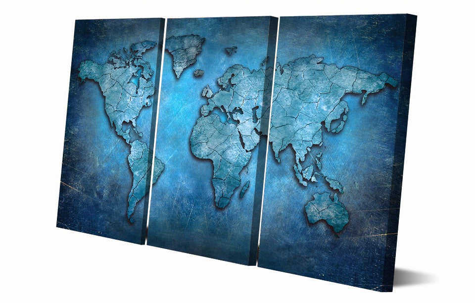 Blue Abstract World Map 3-Piece Wall Art Canvas - Royal Crown Pro