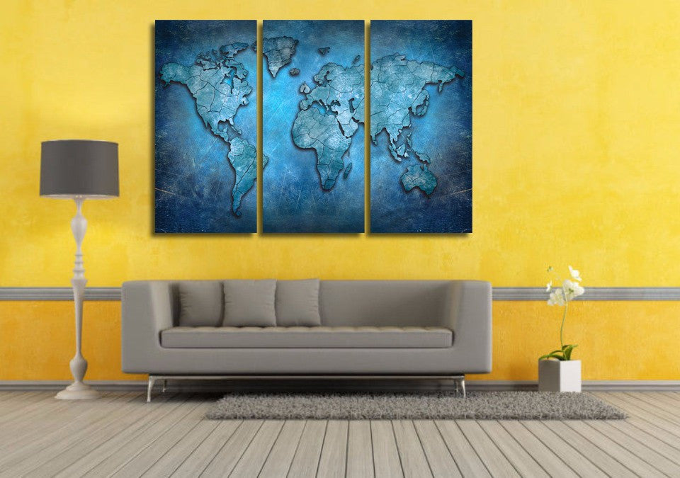 Blue Abstract World Map 3-Piece Wall Art Canvas
