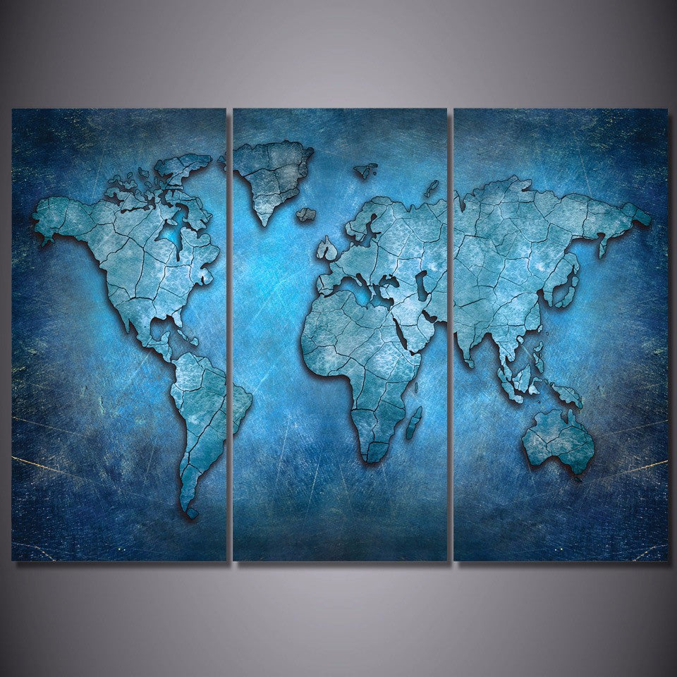 ... Blue Abstract World Map 3 Piece Wall Art Canvas   Royal Crown Pro