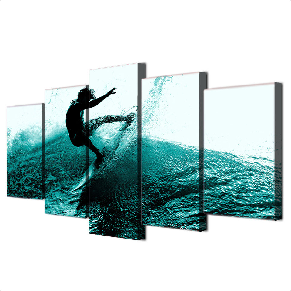 Blue Wave Surfer 5-Piece Wall Art Canvas - Royal Crown Pro