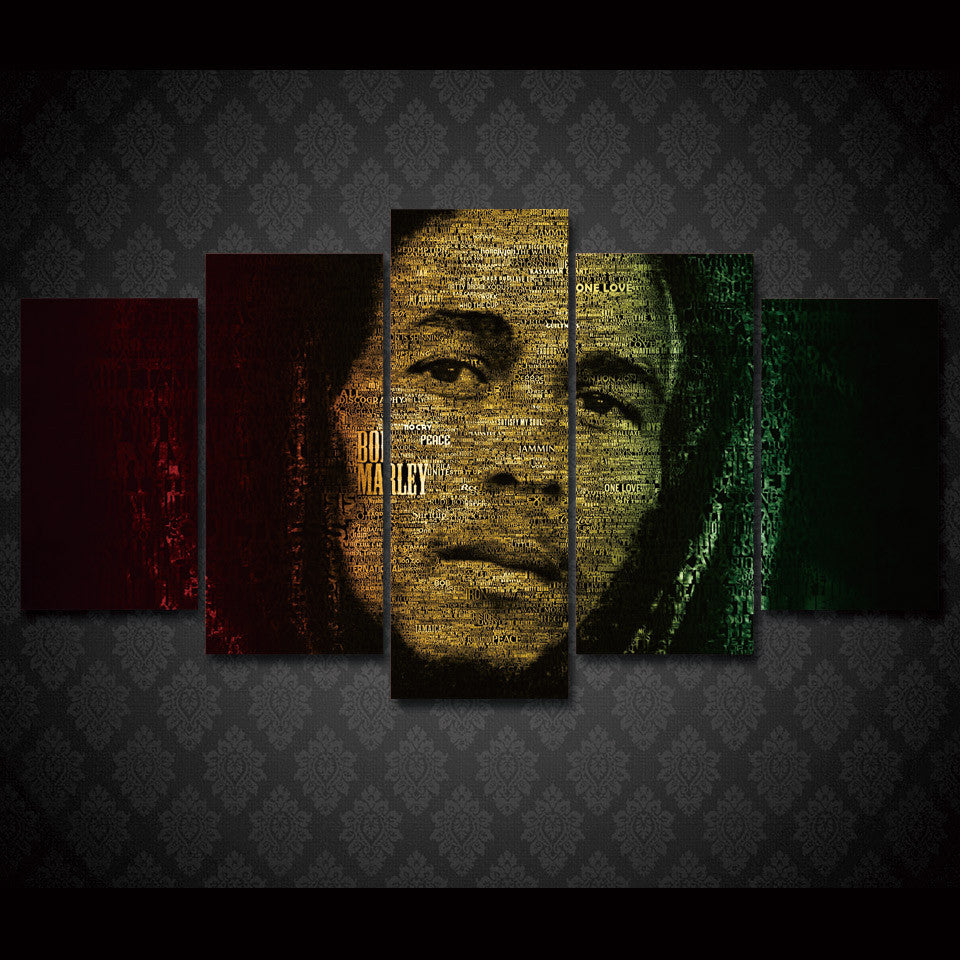 Bob Marley Word Cloud 5-Piece Wall Art Canvas - Royal Crown Pro