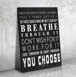 Breathe Through It Framed Canvas Wall Art Gym Fitness Decor Workout Exercise Motivation Art - Royal Crown Pro