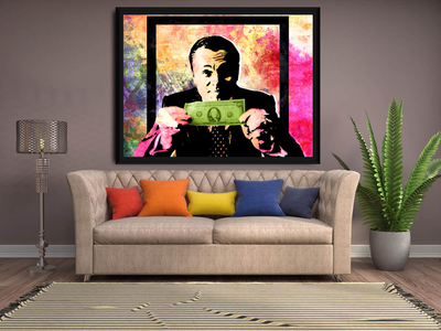 Money Talks DiCaprio Wolf of Wall Street Pastel Abstract Framed Canvas Wall Art With Black Frame - Royal Crown Pro