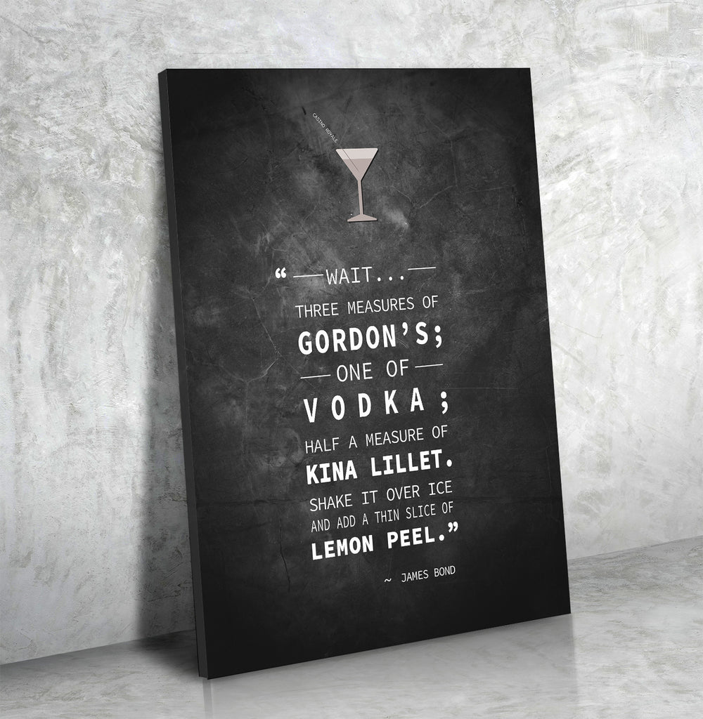 Casino Royale James Bond Vesper Martini Quote Canvas Wall Art 007 - Royal Crown Pro