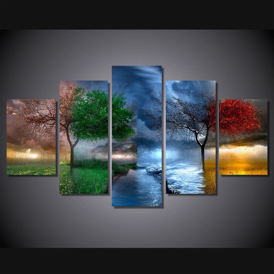 Change Of Seasons Beautiful 5-Piece Wall Art Canvas - Royal Crown Pro