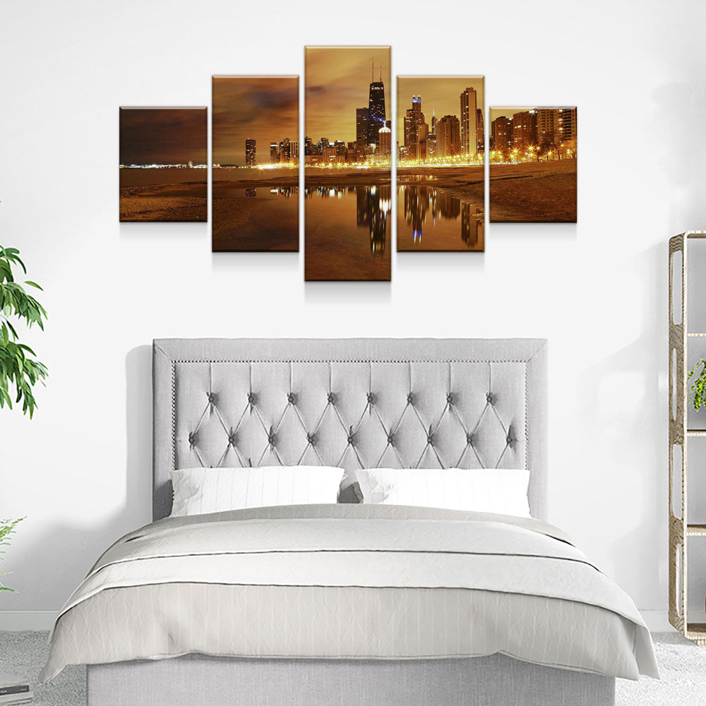 Chicago Late Evening 5-Piece Wall Art Canvas Chicago Skyline - Royal Crown Pro