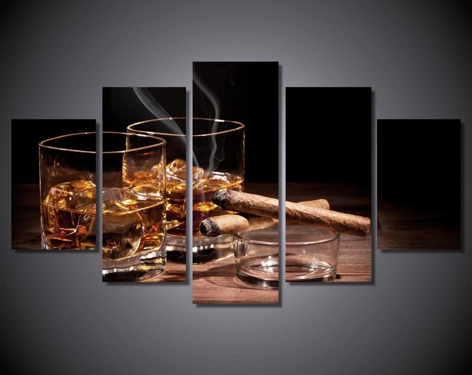 Cigar and Bourbon 5-Piece Framed Canvas Wall Art - Royal Crown Pro