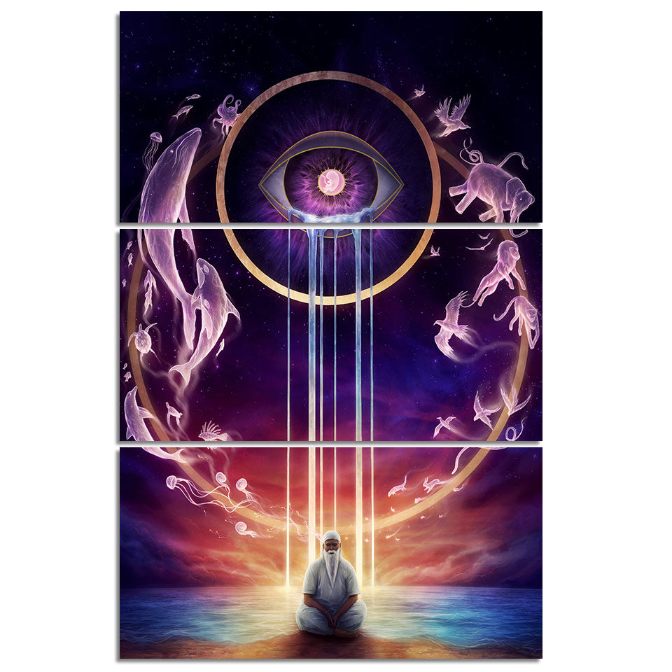 Circle of Life 2 by JoJoesArt 3-Piece Framed Canvas Art Meditation Life Cycle - Royal Crown Pro