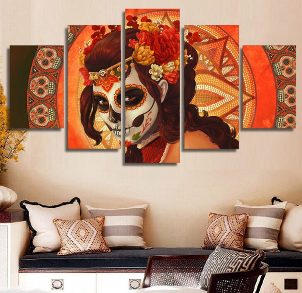 Day Of The Dead Bathroom Set: Day Of The Dead Face Skull Face 5-Piece Wall Art Canvas