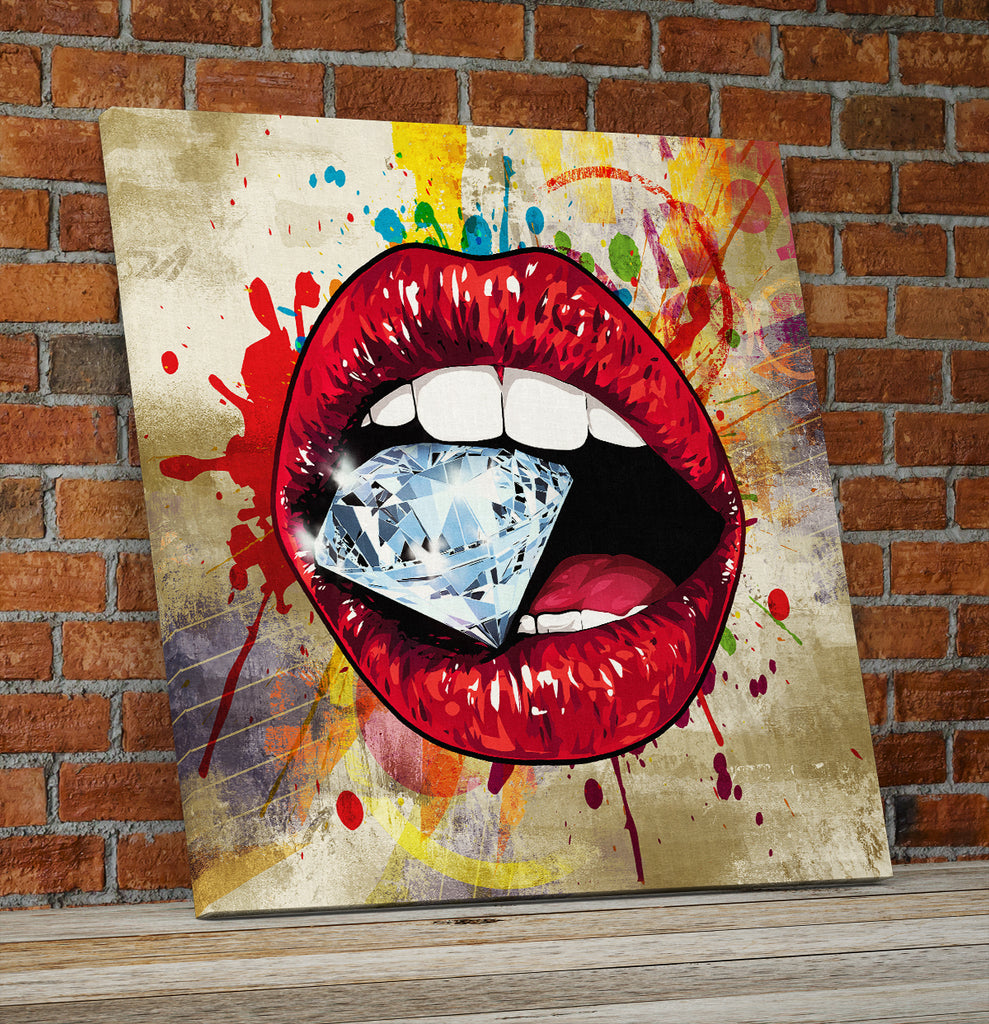 Lips Wall Art, Red Hot Lips Crazy Diamond Lips Wall Canvas Art, Pop Art Decor - Royal Crown Pro