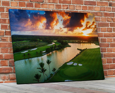 Tropical Golf Course Sunset Framed Canvas Wall Art Dominican Republic Punta Cana - Royal Crown Pro