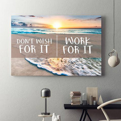 Don't Wish For It Work For It Framed Canvas Wall Art - Royal Crown Pro