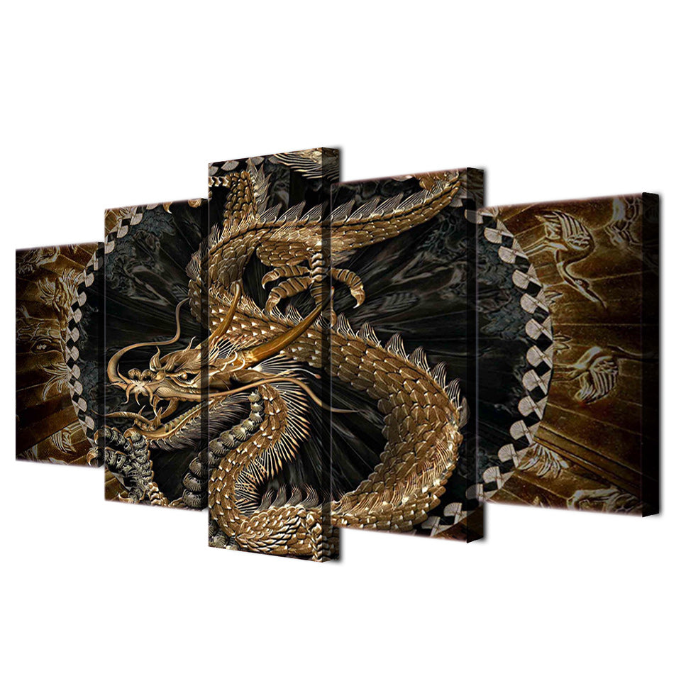 Dragon Wisdom 5-Piece Wall Art Canvas - Royal Crown Pro