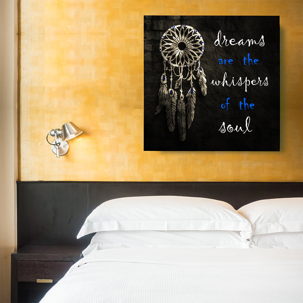 Dream Catcher Dreams Are The Whisper Of The Soul Spiritual Canvas Framed Wall Art - Royal Crown Pro