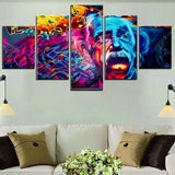 Einstein Abstract Street Art 5-Piece Wall Art Canvas - Royal Crown Pro