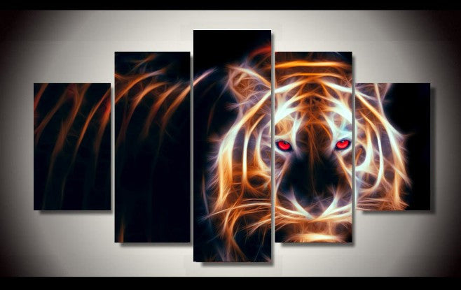 Electric Tiger Limited Edition 5-Piece Wall Art Canvas - Royal Crown Pro