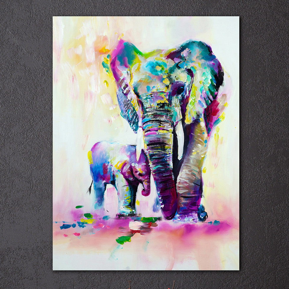 Elephant With Son Wall Art Canvas Elephant Decor - Royal Crown Pro