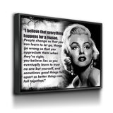Everything Happens For A Reason Canvas Wall Art Marilyn Monroe Quote - Royal Crown Pro