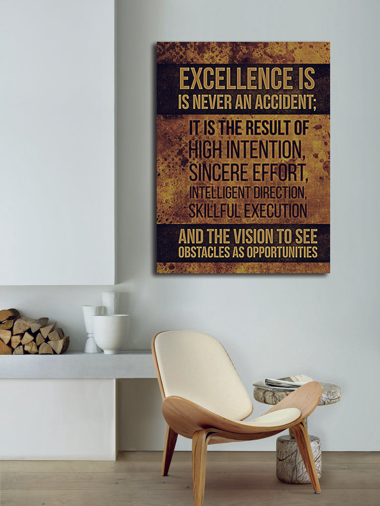 Excellence Is Never An Accident Canvas Wall Art, Motivational Wall Decor - Royal Crown Pro