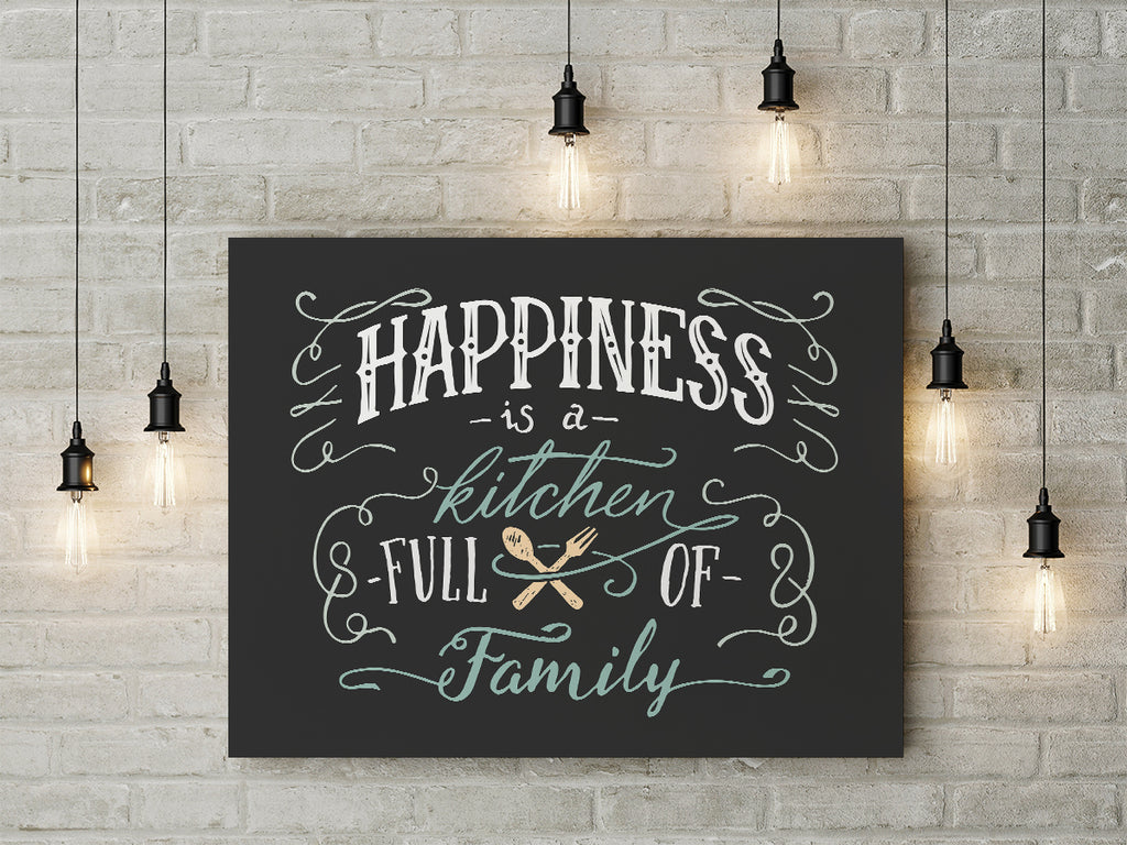 Happiness Is A Kitchen Full Of Family Framed Canvas Wall Art Kitchen Decor    Royal Crown