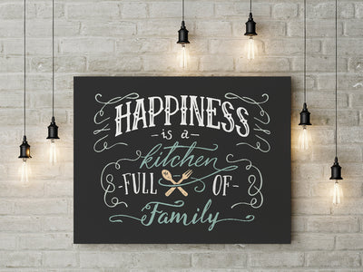 Happiness Is A Kitchen Full Of Family Framed Canvas Wall Art Kitchen Decor - Royal Crown Pro