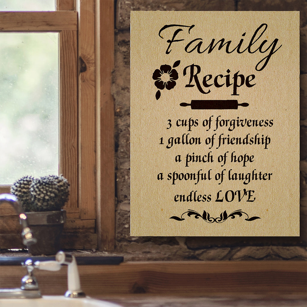 Family Recipe Canvas Wall Art Kitchen Decor