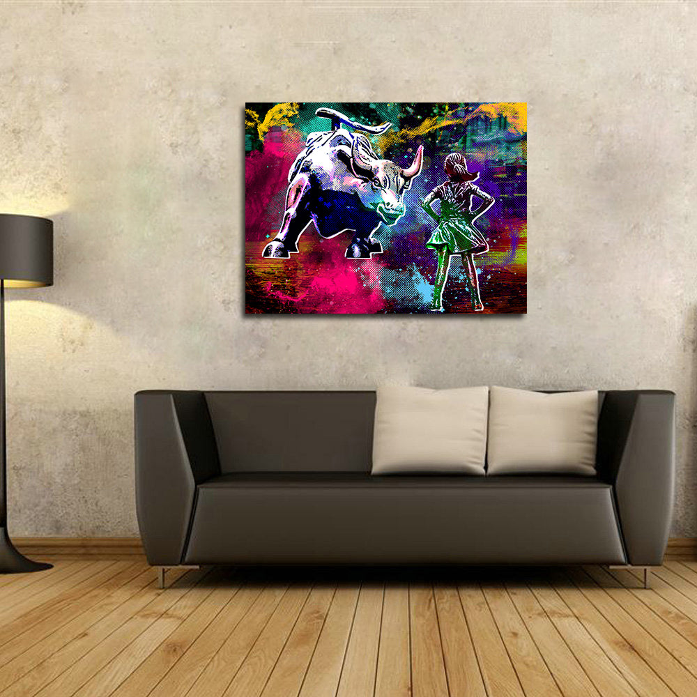 Fearless Girl Charging Bull Statue Canvas Wall Art New York Photography, Charging Bull, Wall Street Art - Royal Crown Pro