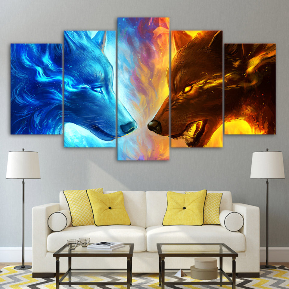 Fire and Ice 5-Piece Canvas Wall Art 2 Wolves - Royal Crown Pro