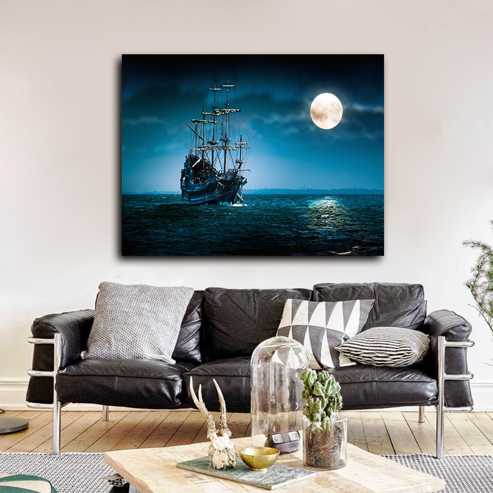 Pirate Ship The Flying Dutchman Ghost Ship Canvas Wall Art Davy Jones Jack Sparrow Ship - Royal Crown Pro