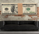 Money Stack Franklin Bills Canvas Wall Art Motivational Wall Decor - Royal Crown Pro